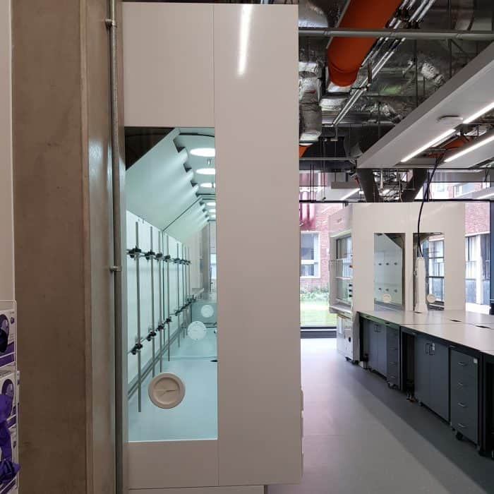 APEX Fume cupboard through the glass sides