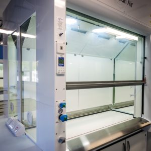 APEX fume cupboard with glass sides and generous work space