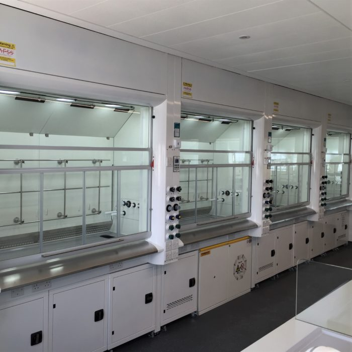Bank of APEX fume cupboards for university