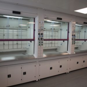 High Performance Radius Profile fume cupboard with combination sash