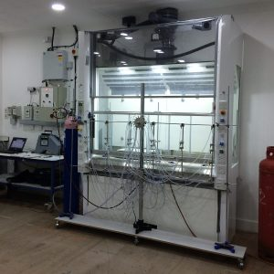 High heat load fume cupboard testing in-house using client's heating equipment