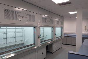 high performance radius profile fume cupboard, clean air ltd