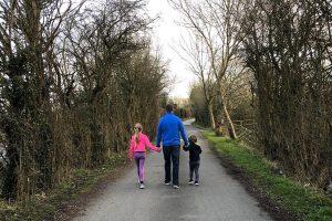 Be greener, dad, daughter, son walking