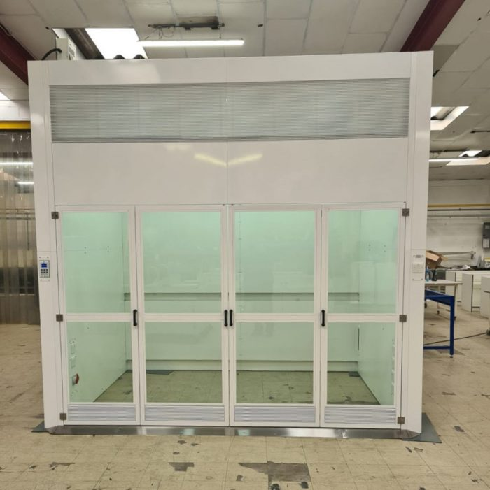 ventilated enclosure for GORD, walk-in fume cupboard, bi-fold doors